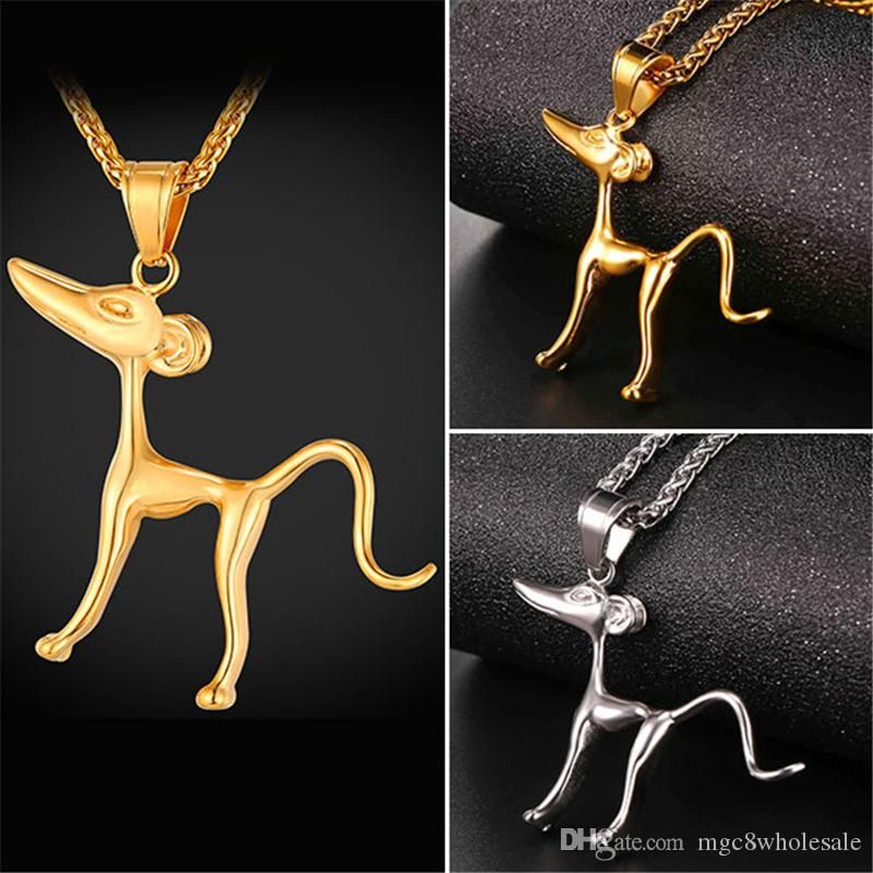 U7 Pharaoh Hound Dog Pendant Necklace Gold Plated/Stainless Steel New Fashion for Women Men Pet Animal Jewelry Perfect Gift Accessories