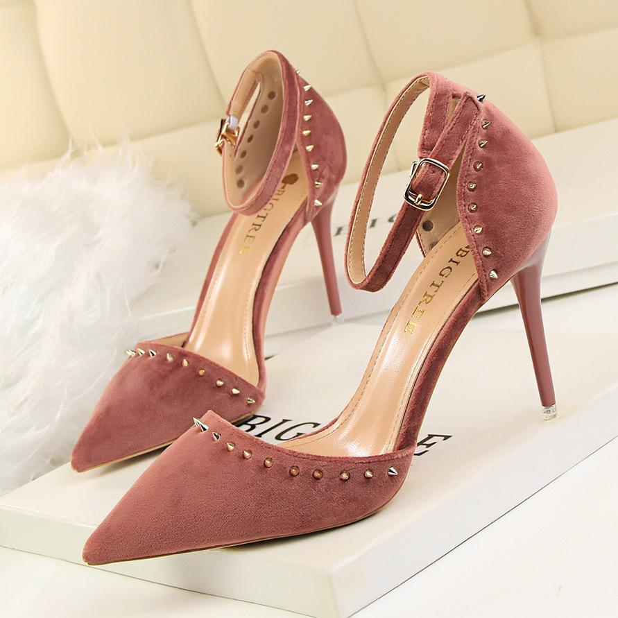 bdb6e91ed4929a Fashion Rivets Lady Dress Shoes Sandals Sexy Women Pumps Heels Suede Thin  High Heels Festival Party Wedding Shoes Formal Pumps GWS128 Women Pumps  Sandals ...