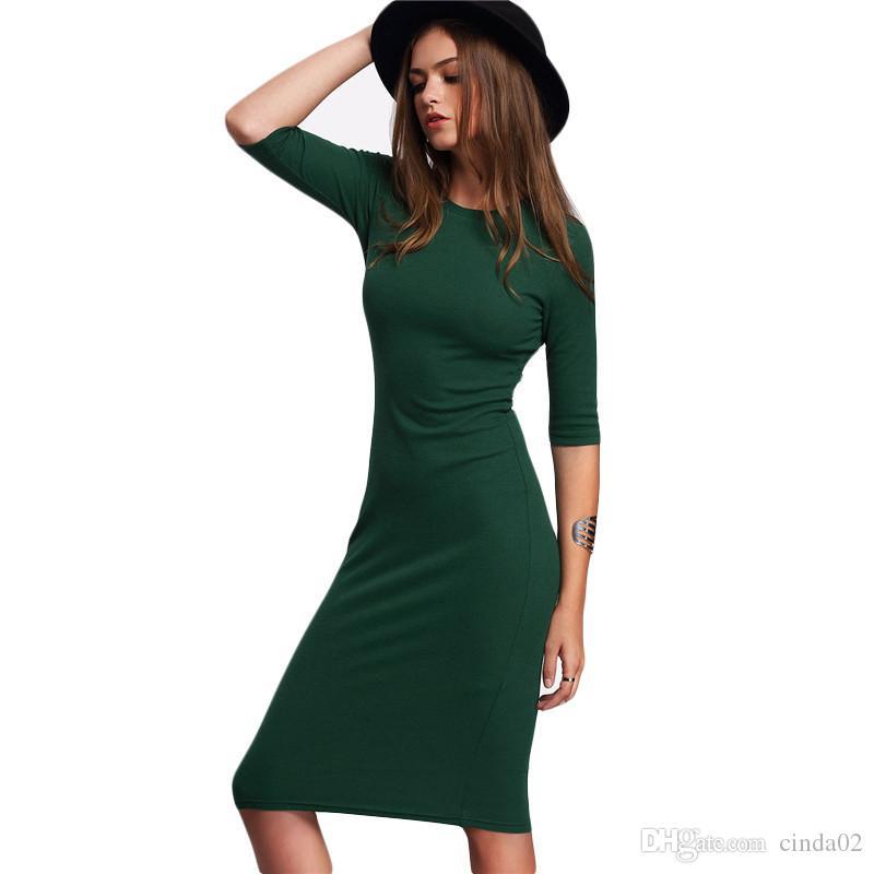 3343a728970 Acheter Travail Été Style Femmes Robes Moulantes Sexy Nouvelle Arrivée  Décontracté Vert Col Rond À Manches Mi Midi Robe De  23.4 Du Cinda02