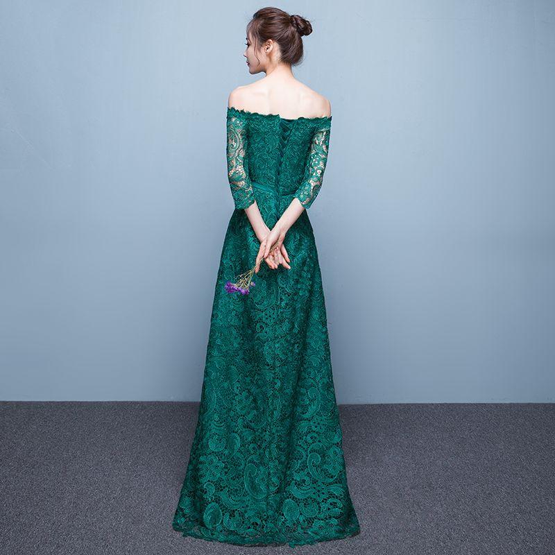 Ink Green Off Shoulder Lace Meerjungfrau Abendkleid schnüren 2018 elegante formale Abendkleider nach Maß