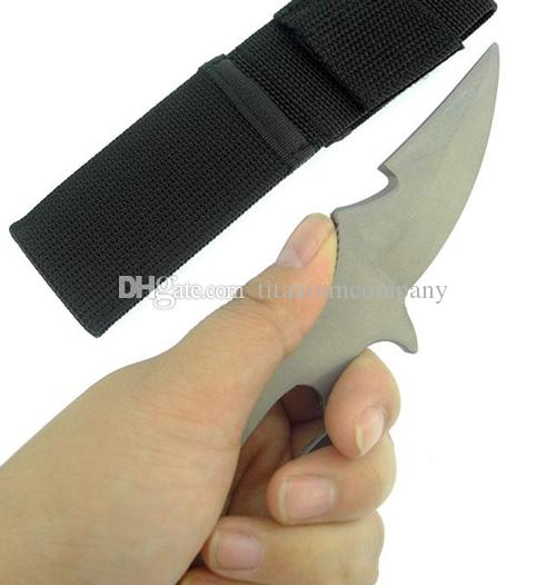 Titanium TC4 148mm Long Diving Twine Knife Boot Knife 33g Matte Surface Waterproof Anti-corrosion with Sleeve
