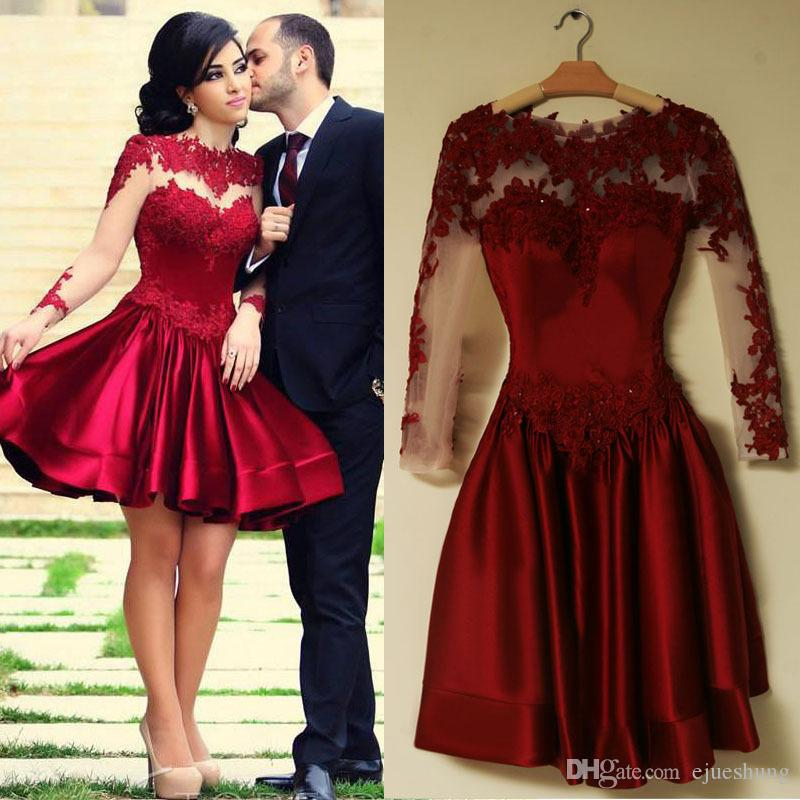 Burgundy Short Prom Dresses 2017 Lace Appliques Long Sleeves Short ...