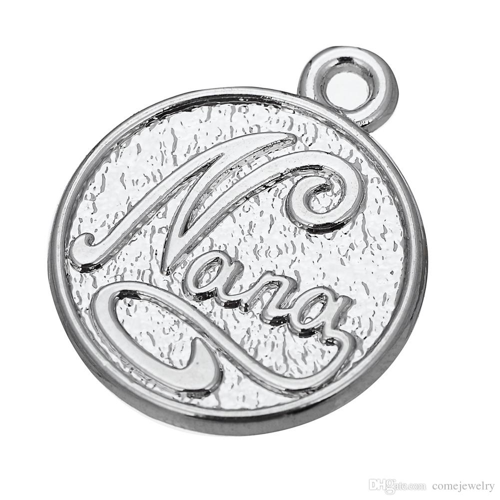 El níquel y el anclaje plateado sin plomo en la palabra de la rueda encantos de la aleación del cinc de Nana para la joyería DIY que hace mucho