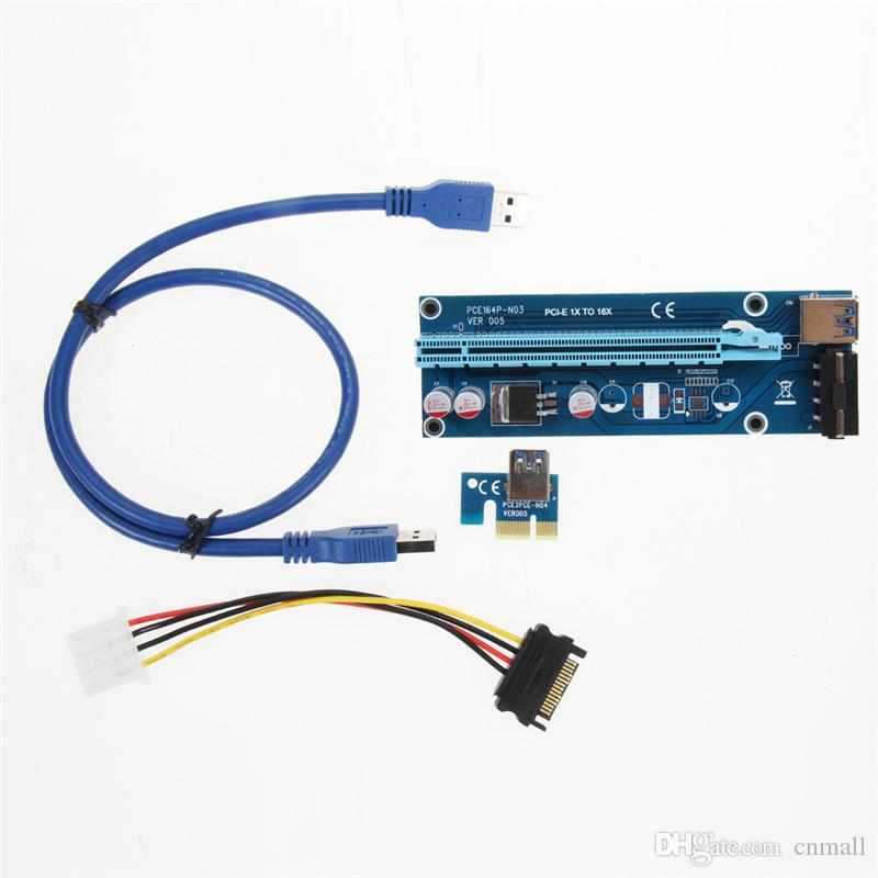PCIe PCI-E PCI Express Riser Card 1x to 16x USB 3.0 Data Cable SATA to 4Pin IDE Molex Power Supply for BTC Bitcoin Litecoin Miner Machine