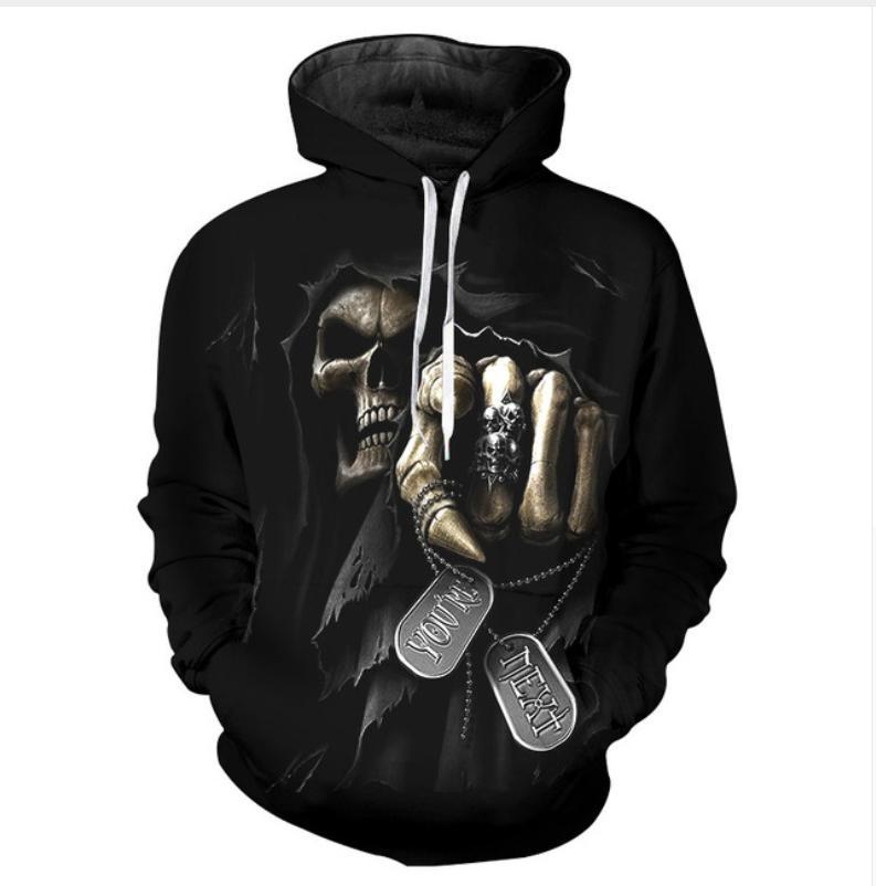 25b3c3961ac9 Acheter Date Mode Femmes   Hommes Crâne Punisher Grim Reaper Drôle 3D  Impression Casual Hoodies Pulls Sweat LMS00058 De  19.33 Du  Fashion2017store