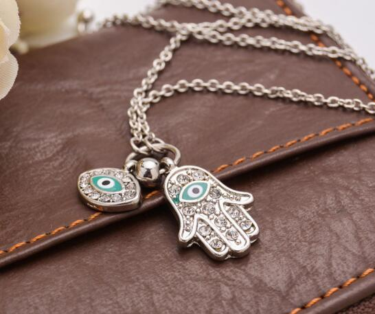 Мода Рука Фатимы Подвеска Золото Серебро Турецкий ювелирные изделия ручной Форма Турции Blue Eyes ожерелье Бесплатная доставка
