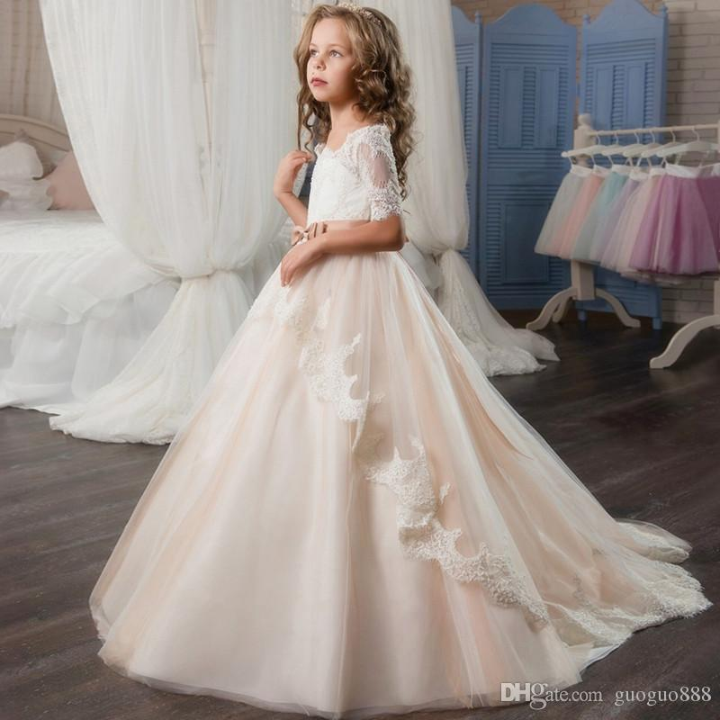 12fda88956e05 Vintage Flower Girl Dresses For Weddings Blush Pink Custom Made Princess  Tutu Sequined Appliqued Lace Bow Kids First Communion Gowns