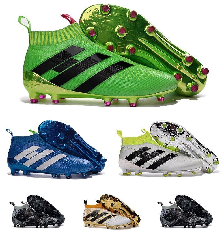newest ce1b2 ee0ab Compre Botas De Fútbol Para Niños ACE 16 FG Zapatos De Fútbol De La Marca  De Tobillo De Alta Calidad A Prueba De Agua Zapatos De Fútbol Sin Cordones  Zapatos ...