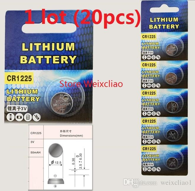 20pcs 1 lot CR1225 3V lithium li ion button cell battery CR 1225 3 Volt li-ion coin batteries Free Shipping