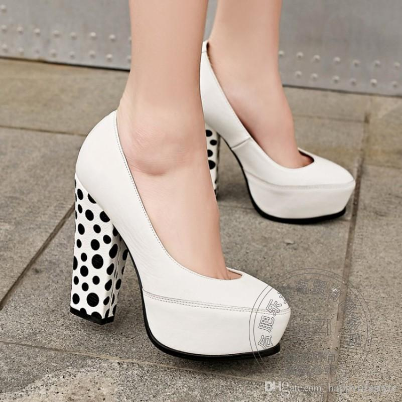 Women Wedding Dress Shoes Pumps Polka Dot Chunky Heel Black White ...