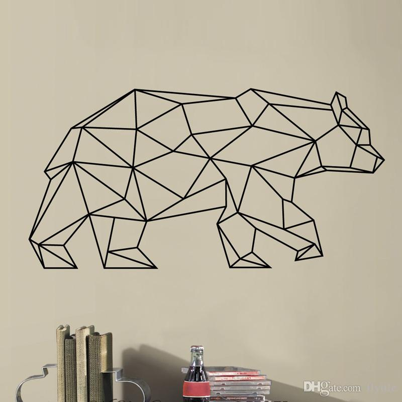 Geometric Vinyl Bear Wall Decal Removable Wall Sticker Home Decor