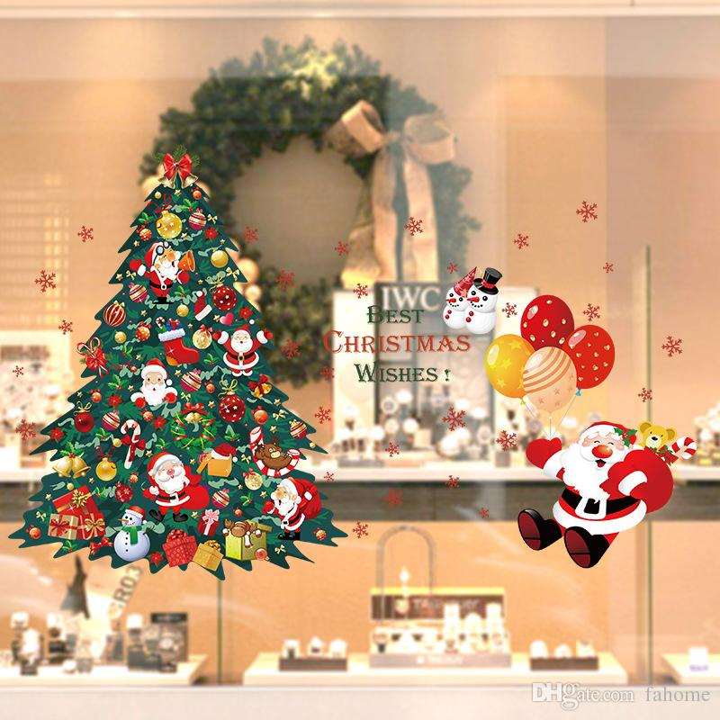 shop window glass christmas tree santa claus wall sticker home