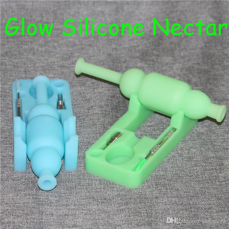 Glow in collettori di nettare di silicone scuro con unghie in silicone da 10mm uomo in silicone Silicon Bong silinectar con presa da 120mm DHL libero