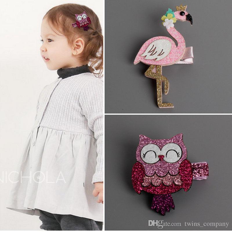 Fashion Cute Cartoon Flamingo And Owl Baby Hairpins Kids Hair Clips Children Headwear Princess Barrette Girls Accessories Childrens Wedding