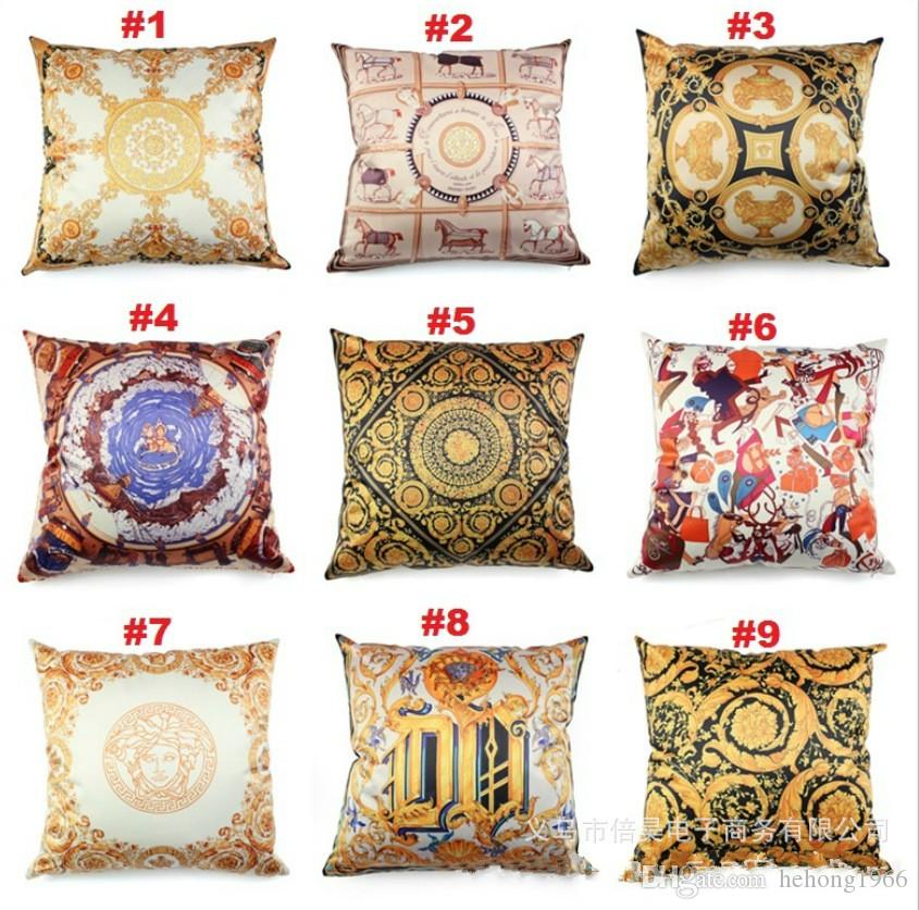 Awesome Household Square Cushion Cover Baroque Flowers Pattern Pillow Case For Home Sofa Decorative Throw Pillows Cases High Quality 6 5Bha Kk Home Interior And Landscaping Dextoversignezvosmurscom