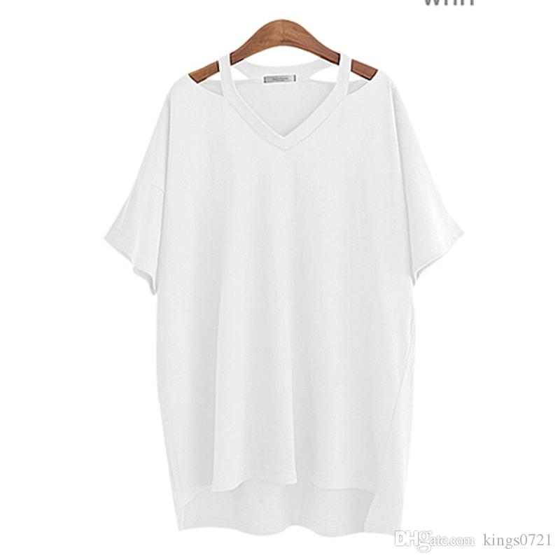 2573199df85 2017 Summer Fashion Cotton Off Shoulder Women T Shirt Long V Neck Sexy  Casual Loose Tops Ladies Tees Online Buy T Shirts Tna Shirts From  Kings0721