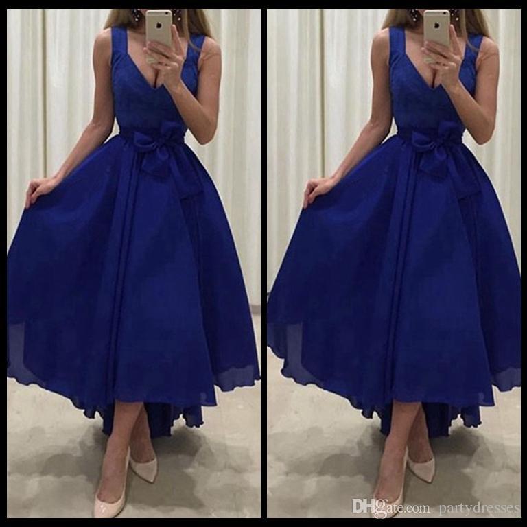 Royal Blue Evening Dresses Short Front Long Back V Neck Wide ...