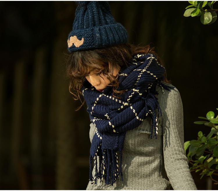 2018 novos homens outono e inverno moda cachecóis de lã quente cashmere padrão xadrez cachecol amante mantendo tricô lenço de lã