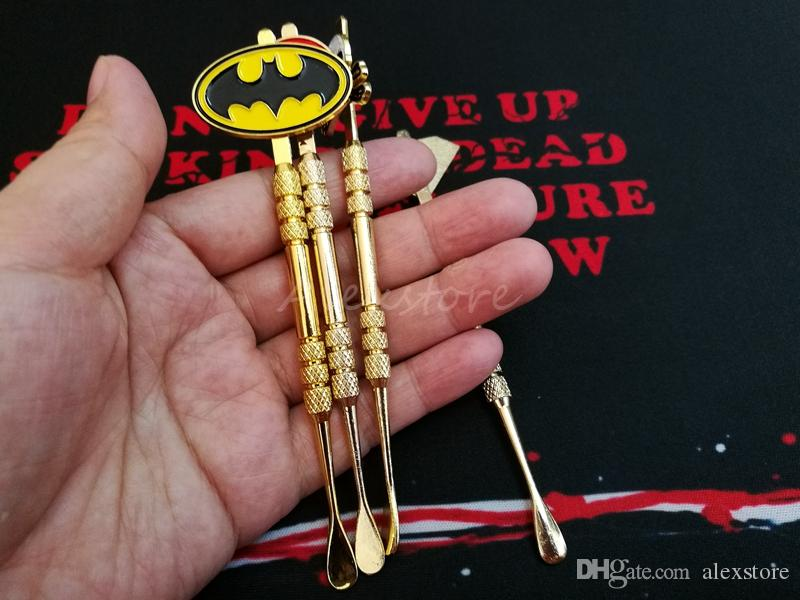 Wax dabber tools atomizer 118mm dab jar smoking tool for dry herb titanium nail Captain America Batman Superman Superhero Skull Badges DHL