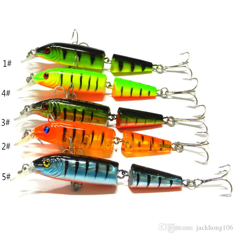 2 Sections Fishing Minnow Lure Artificial Bait with Treble Hooks 10.5CM 9.6g Plastic Hard Bait Fishing Tackle