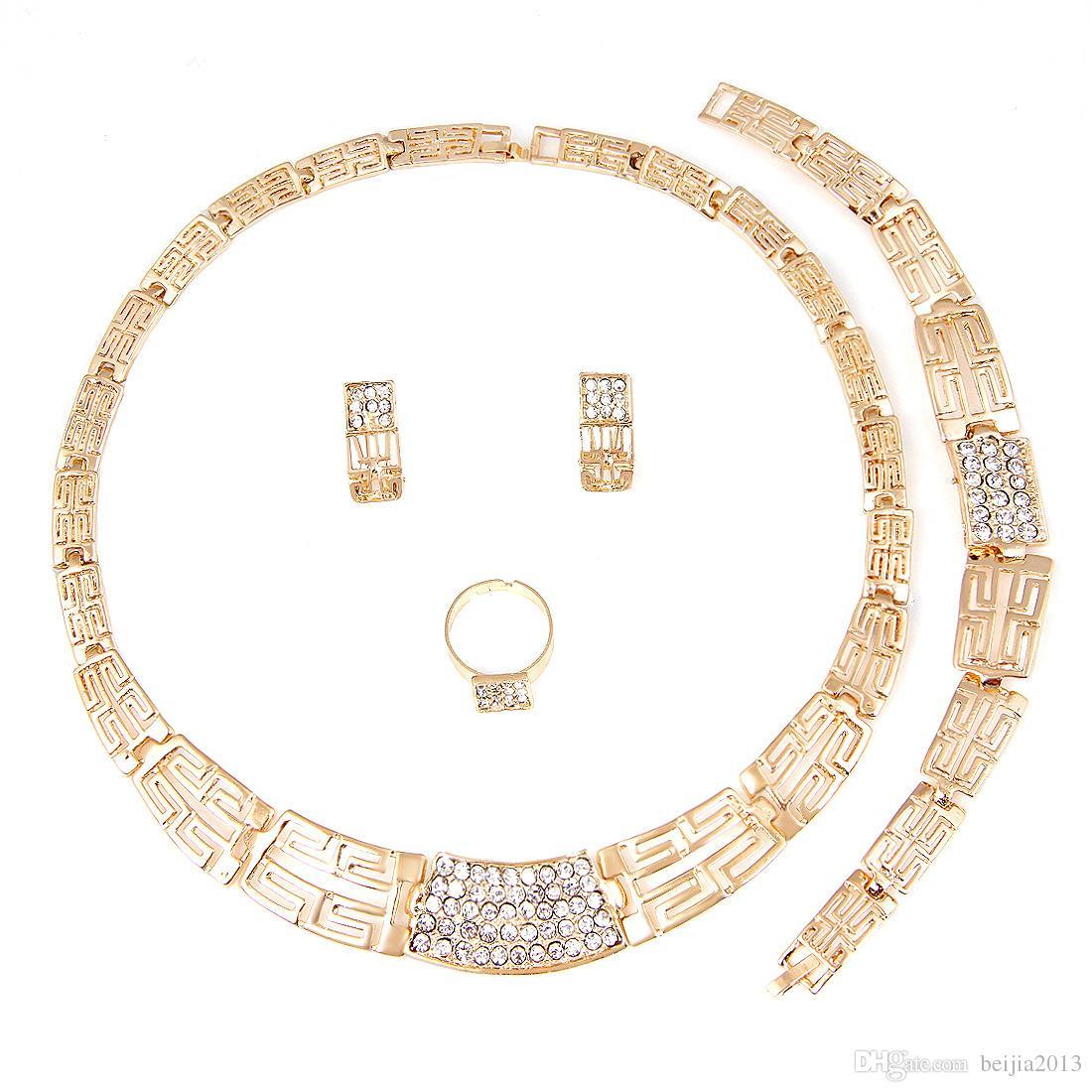 Alta Qualidade 18K banhado a ouro de prata conjunto de jóias brincos colar anéis pulseira bracelete conjuntos de casamento jóias acessórios de moda quente