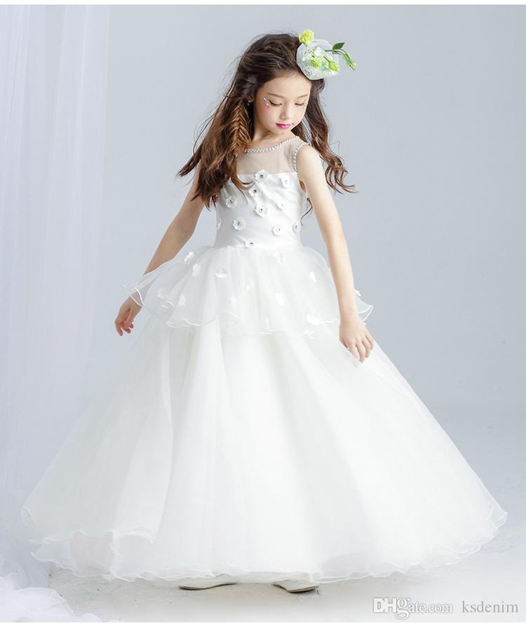 Großhandel Elegante Weiße Spitze Mädchen Prinzessin Kleider ...