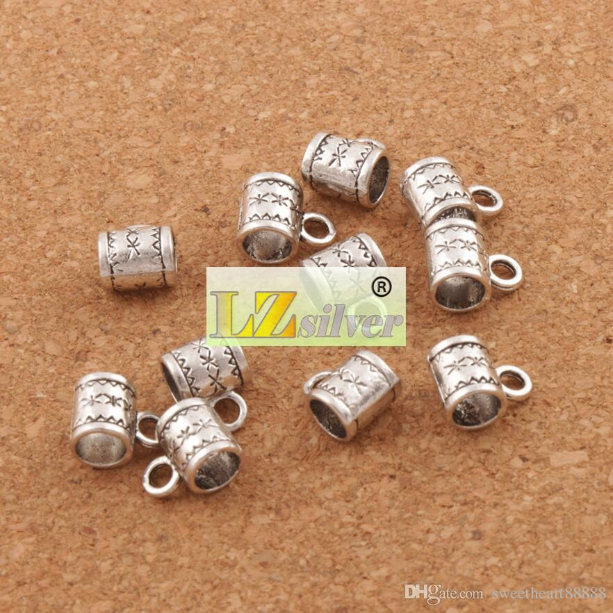 Flower Bail Metals Loose Beads With Loops 8X10mm Tibetan Silver For European Charm Bracelet