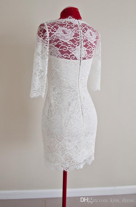 Estilo Vintage Curto Vestidos de Casamento Branco Marfim 3/4 Manga Longa Bainha Na Altura Do Joelho Lace Vestidos De Noiva Vestido De Noiva 2019 W878