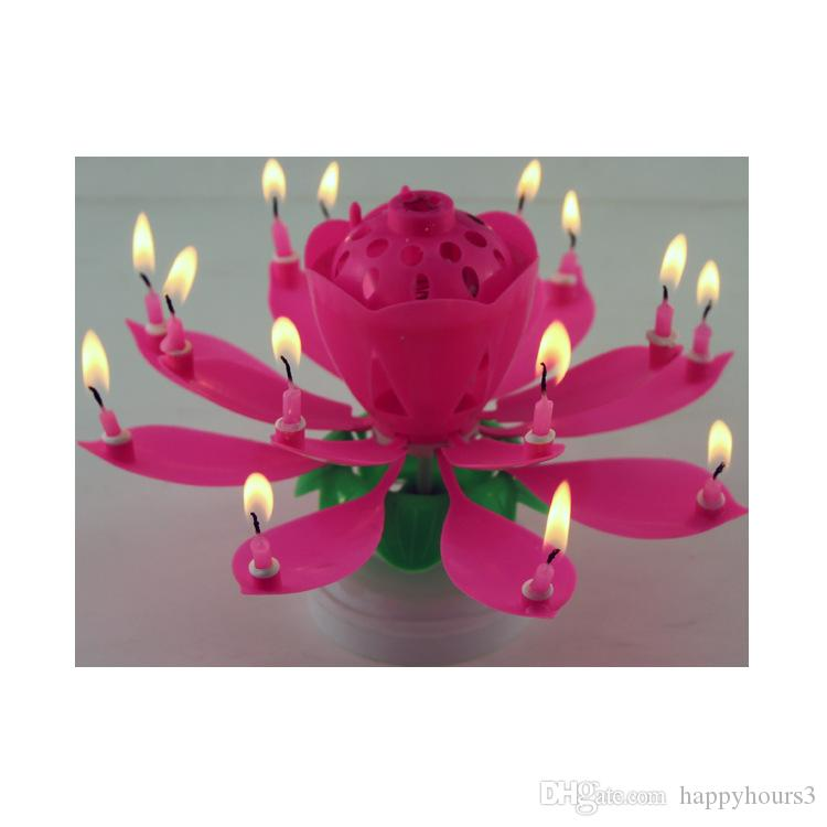New Art Musical Birthday Candle 2 Layer 14 Candles Lamp Lotus Flower Happy Party Gift Rotating Lights Decoration Canada 2019 From Happyhours3