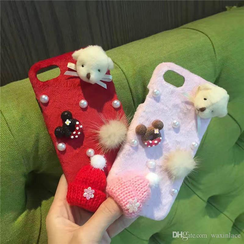 For iPhone 6 6S 7 Plus Luxury Fashion Cute Colorful Christmas hat Fur ball Plush Bear Shine Pearl Hard Phone case Back Cover