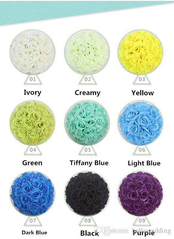 Düğün Ipek Çiçek Topu için 25 CM Gül Öpüşme Topları Dekoratif Yapay Çiçekler 15 cm - 40 cm Çok Renk Seçenekleri Pomander Topları KB-006