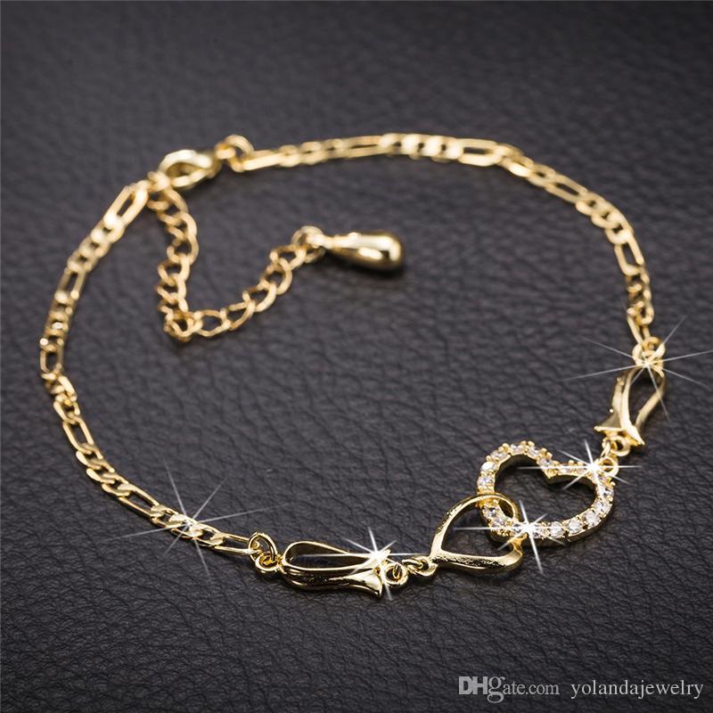 Kadınlar Yaz Takı 18 K Sarı Altın Kaplama CZ Çift Kalpler Kızlar Kadınlar Için Halhal Zincir Bilezik Düğün Için