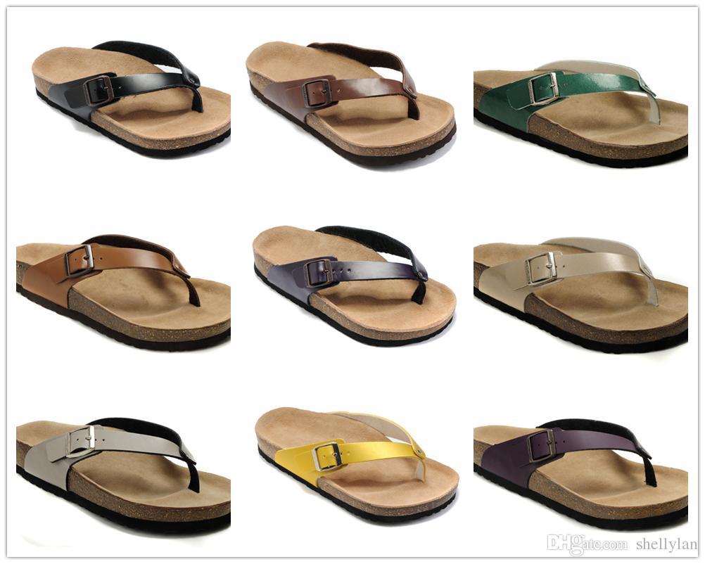ce0ee9830 Famous Brand Arizona Men Women Flat Heel Flip Flops Sandals Buckle  Comfortable Spring Summer Good Casual Shoes Genuine Leather Slippers Wedge  Sneakers ...