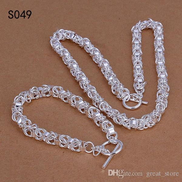 Tout nouveau même prix ensembles de bijoux en argent sterling, la bonne qualité de mode 925 bijoux en argent Collier Bracelet ensemble GTS3a