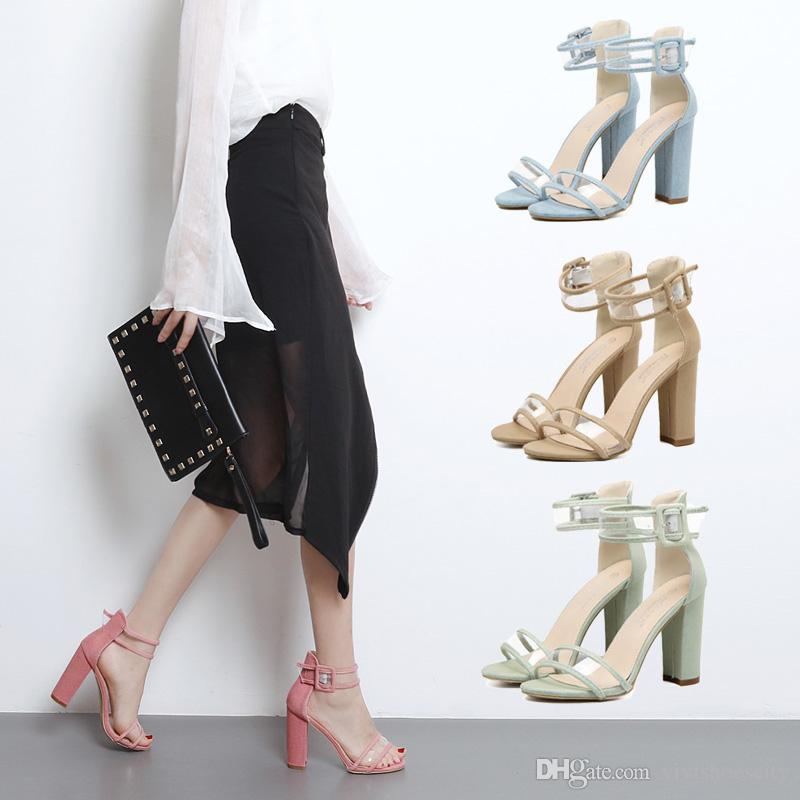 21dfcf8729e New Fashion Thick Heel Denim Cloth Ankle Strap Gladiator Sandals with  Buckle Size 35 to 40 Gladiator Sandals for Women Sandals for Women Ladies  Sandals ...
