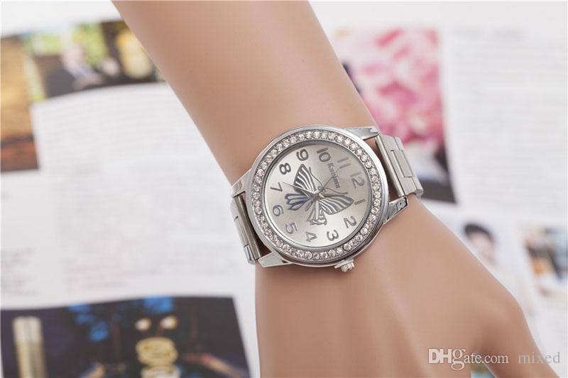 KANIMA повседневная часы женщины платье часы бабочка Pattern Спорт Кварцевые наручные часы браслет большой циферблат часы женщины мода Relogio