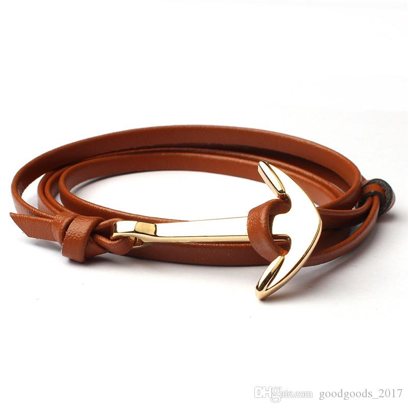 2017 NEW fashion personality retro retro anchor double-sided leather hand-woven leather bracelet jewelry anchor bracelet M0247