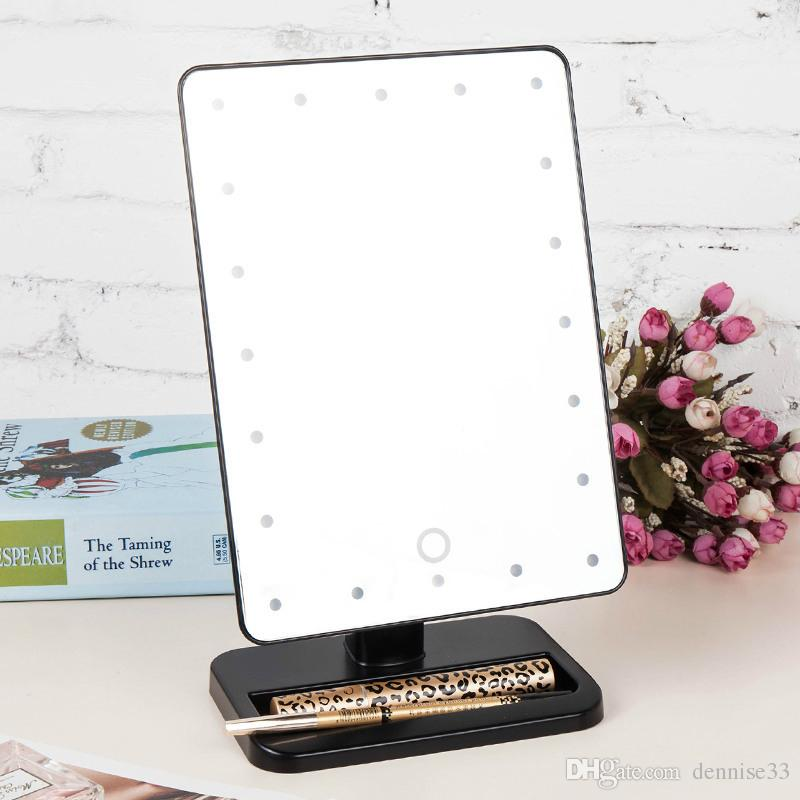 Adjustable Vanity Tabletop Lamp 20 Leds Lighted Led Touch Screen Mirror  Makeup Portable Mirror Luminous 340 Rotating Mirror Dressing Table Mirror  Hollywood ...