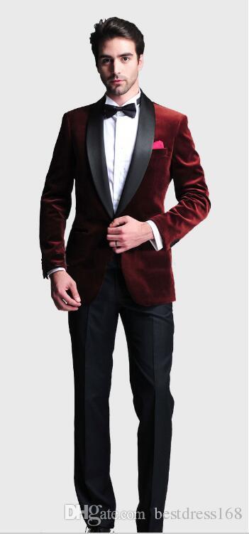 Italian Style Groom Wear Suits/Velveteen Wine Red Jacket Black ...