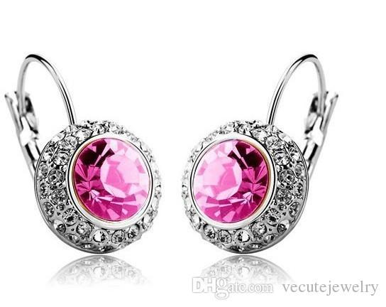 Wholesale Price 18k White Gold Plated Swarovski Crystal Round Women Earrings Rhinestone Dangle Earrings Factory Price