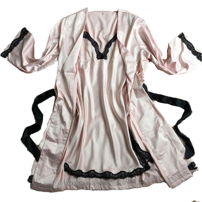 771ec25db8ff New Women Sexy Bathrobe Female Robe Silk Spaghetti Strap Lace ...