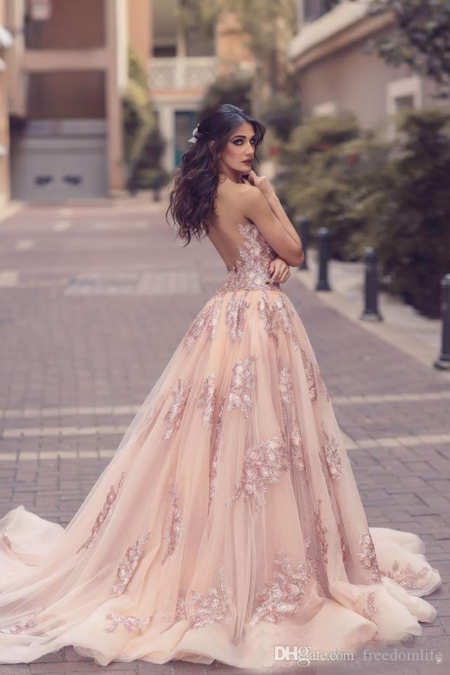 Saudi Arabic Blush Pink Evening Dresses with Detachable Train Sheer Illusion Bodice Lace Applique Mermaid Long Side Split Prom Dress