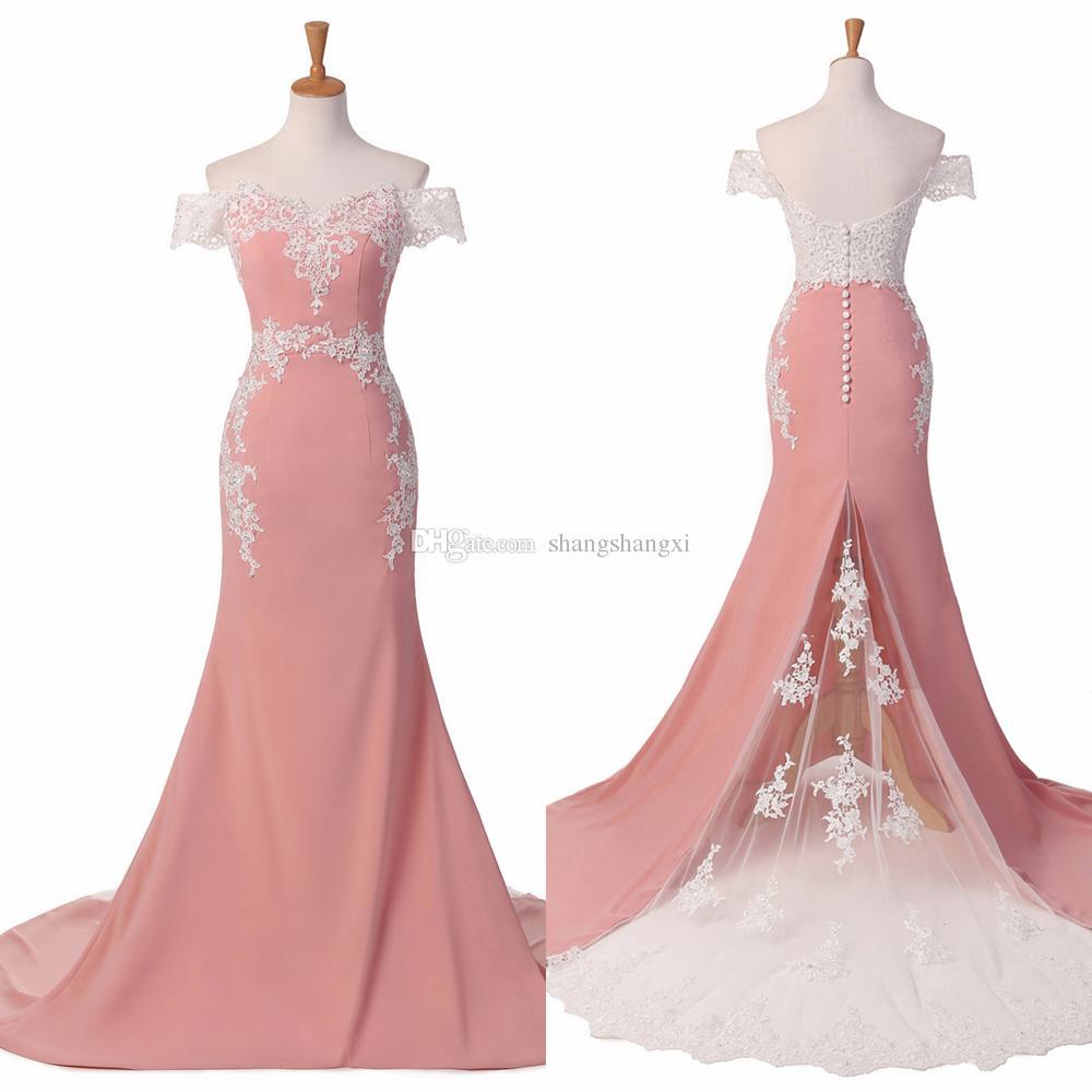 Compre Desnuda Rosa Fuera Del Hombro Sirena Vestidos De Baile ...