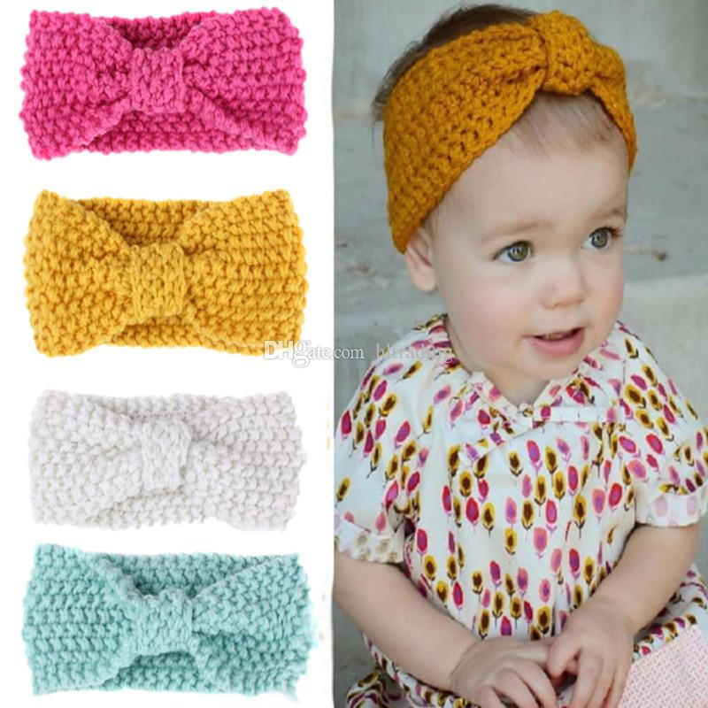Winter Baby Bohemia Turban Knitted Headbands Fashion protect Ear Headwear Girls Hair Accessories infant Photograph props C2546