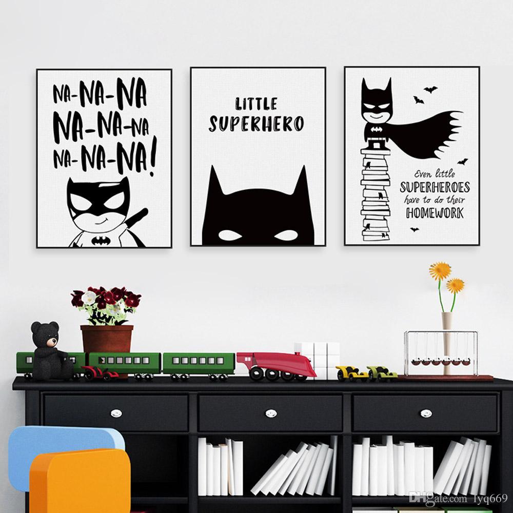 Großhandel Nordic Schwarz Weiß Superhero Batman Hippie Zitieren Poster  Junge Kinderzimmer Wandkunst Leinwand Malerei Wohnkultur Drucken Bild Kein  ...