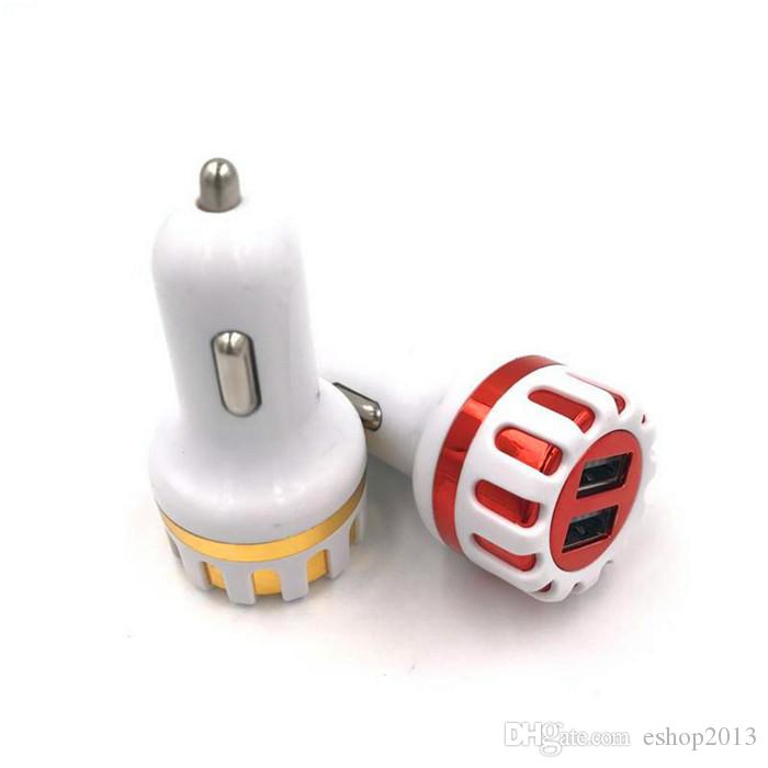Uninversal Sun Flower Car Charger Chargeur Rapide Charge 5 V 2.1A 2 Port Hot Mini ABS Mental Double USB Adaptateur Chargeur Auto