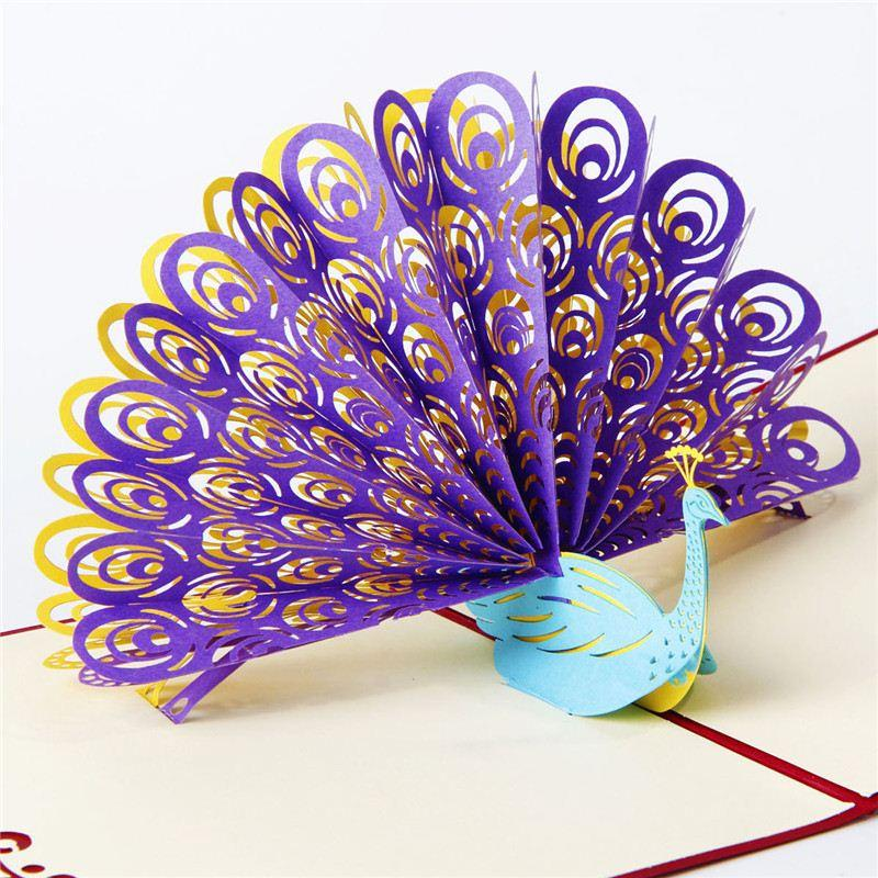 Korean Handmade Paper Art Carving Creative 3D Animals Peacock Pop UP Card Birthday Child Greeting Cards Flower Free Animated