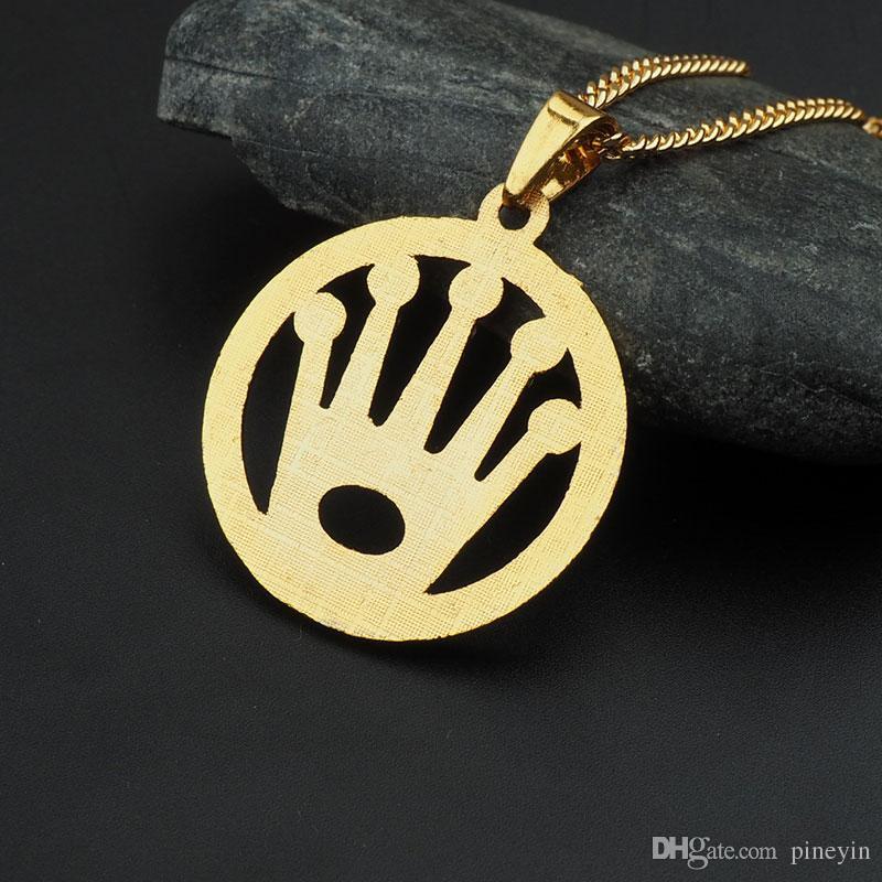 Coroa de cristal rodada pingente de colar de hip hop banhado a ouro colares com cadeia de jóias para homens ou mulheres item número hps039