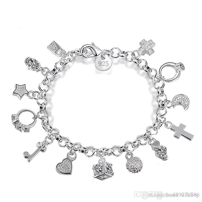 Luxury 925 sterling silver plated charms bracelets with love cross luxury 925 sterling silver plated charms bracelets with love cross ring moon star key 13 pendants bracelet for women gift box jewelry build your own charm mozeypictures Images