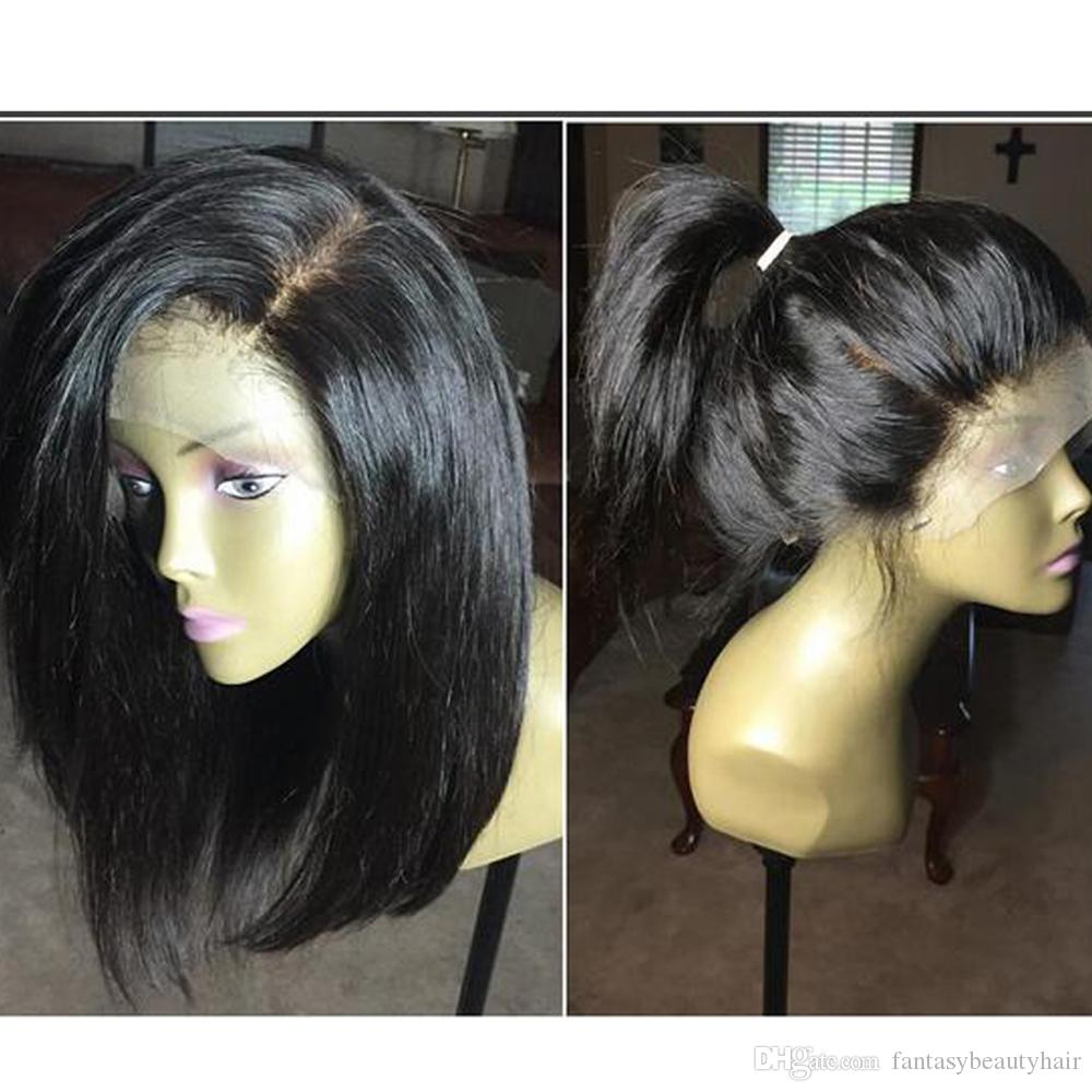 "Side Bangs Human Hair Bob Wigs Short Brazilian Lace Front Wigs Wavy Remy Hair With Baby Hair Bleacked Knots 10""-14"""